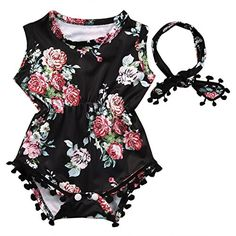 baby rompers | Cute Adorable Floral Romper Baby Girls Sleeveless Tassel Romper One-pieces +Headband Sunsuit Outfit Clothes (12-18 Months, Black)