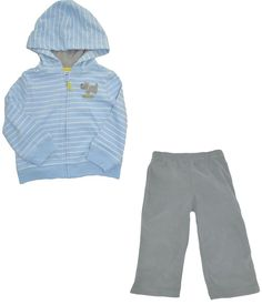 Carters Boys 2 Piece Set 12 Month Outfit Pants Dog Zip Up Hoodie Jacket Daddy #Carters #DressyEverydayHoliday