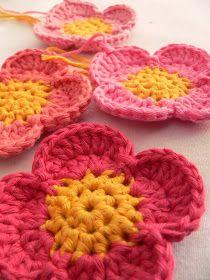 Bees and Appletrees (BLOG): een bloem haken, stap voor stap - crochet flower tutorial , step by step