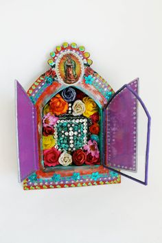 Large Mexican tin nicho shadow box with double by TheVirginRose, $68.00