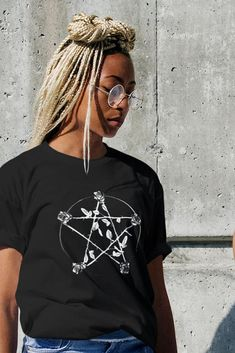 Rose Pentagram Graphic Tee Witch Clothing | Alternative fashion | Occult symbols | Satanic Apparel | Goth shirt | Wicca Protect | Grunge Funky Fashion, Dark Fashion, Gothic Fashion, Boho Fashion, What To Wear Today, How To Wear, Grunge Accessories, Occult Symbols, Witch Outfit