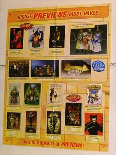 BUST/STATUE/MAQUETTE POSTER:NIGHTWING/HOBGOBLIN/WOLVERINE/LEGION OF SUPER-HEROES: Here's 1 of our many rare MARVEL & DC COMICS MERCHANDISE PROMOTIONAL POSTERS that were never for sale to the public! Each Previews promo poster shows items like Bowen busts, statues, action figures, tv & movie items, toy cars, model kits, maquettes, mini-mates, and MORE! $40.00
