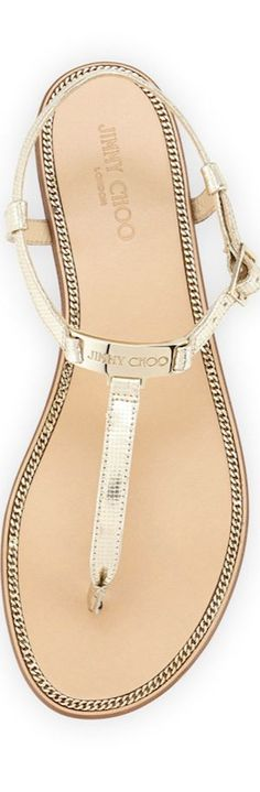 Jimmy Choo Wave Metallic Leather Thong Sandal, Champagne
