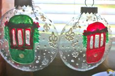 Belle Lafaye: Creations by Aria Charles Green, Crescent City, Christmas Bulbs, Hand Painted, Shapes, Seasons, Holiday Decor, Red, Handmade
