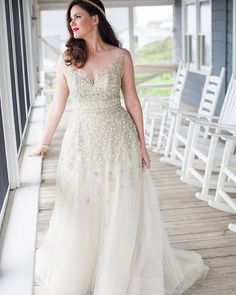 The beading on this sleeveless wedding gown is lovely. We can make #plussizeweddingdresses like this for a great cost. We also offer brides #replica wedding gowns. We can make a replica of any dress just based on a picture. So haute couture bridal gowns can be made for a fraction of the original cost. Email us for pricing and details.
