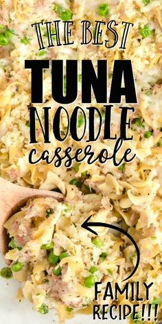 The Best Tuna CasseroleThis tuna casserole is from scratch comfort food at it's best! Made with simple ingredients you'll have in your pantry, this is an old-fashioned classic. Tender egg noodles combine with peas, tuna, cream of mushroom soup, chees Best Tuna Casserole, Tuna Casserole Recipes, Tuna Recipes, Casserole Dishes, Seafood Recipes, Cooking Recipes, Oven Recipes, Vegetarian Cooking, Fishing