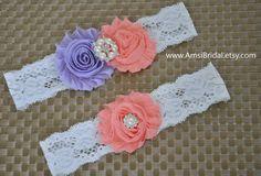 Peach garter Set,Lavender Garters, Lilac garters,Garters Sets,Peach toss Garter, Lavender Wedding,Peach wedding,Custom garters,Lilac Wedding