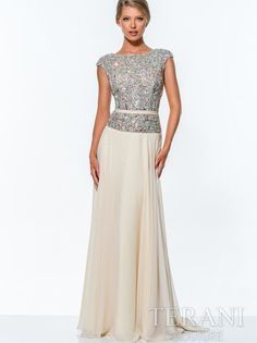 beautiful champagne dress for mother of bride with crystal bodice 2015 by Terani Mob Dresses, Prom Dresses 2015, Bridesmaid Dresses, Formal Dresses, Wedding Dresses, Mother Of The Bride Dresses Long, Mothers Dresses, Long Mothers Dress, Bride Groom Dress