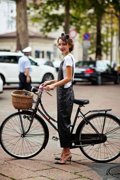 Overalls & a bike. cool. Paris. Heather says...love this look although it reminds me of Dexy's a fave 80's one hit wonder!