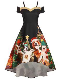 Femmes Floral Imprimé Animal Dot Années 50 Style Bardot Off épaule Femmes Robe Swing