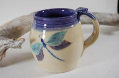 Dragonfly Pottery Mug 101  Beautiful Purple by CenterHillClayWorks, $24.00
