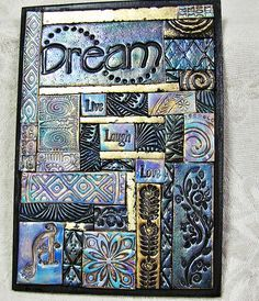 I considered making something similar with the word & I love inspirational artwork! Clay Wall Art, Ceramic Wall Art, Tile Art, Mosaic Art, Mosaic Tiles, Polymer Clay Projects, Polymer Clay Creations, Polymer Clay Crafts, Inchies