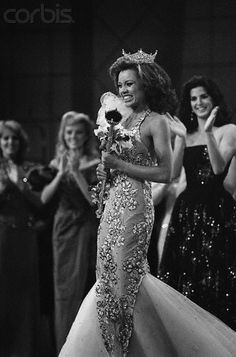 Vanessa Williams, now at 'Desperate Housewives', was crowned Miss America in 1983, being the first afro-american woman to win this title (she had to relinquish due to some nude pics at Penthose magazine)