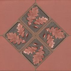 """Focal point with four 6"""" Oak Leaf tile with green and copper glaze http://www.fajonesday.com"""