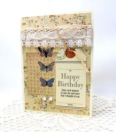 Vintage Birthday Card  Shabby Chic  Romantic by PrettyByrdDesigns