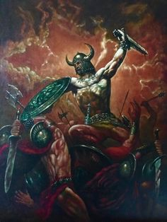 Conan in Battle!! Cover to Robert E. Howard Lone Star Fictioneer #4 !! Oil by Marcus Boas !! Comic Art