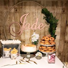 Donuts Baby Shower - Dessert Table Baby Shower - Name Sign - Rustic Style