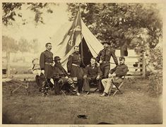 [Major General Philip Sheridan and his generals in front of Sheridan's tent]