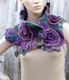 Crochet Scarf, Unique Raibow cowl, Chunky scarf, Freeform crochet scarf Gift for her Bohemian style Flower scarf Fashion scarf Chunky Crochet Scarf, Chunky Scarves, Freeform Crochet, Crochet Scarves, Irish Crochet, Crochet Shawl, Crochet Yarn, Crochet Flower Scarf, Crochet Neck Warmer