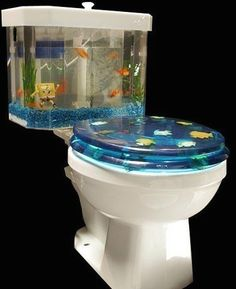 What an awesome toilet I would sit there the whole staring at the fish lol