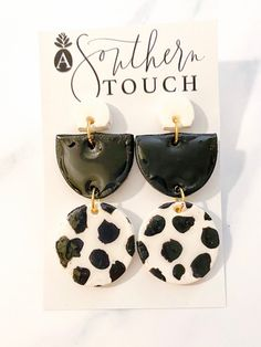 Dalmatian Clay Earrings | asoutherntouchsc