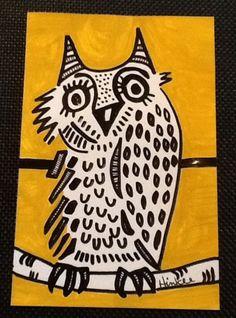 Abstract #Owl Original #Folkart #ink-illustration #outsiderart #painting   #artforsale art for sale ,