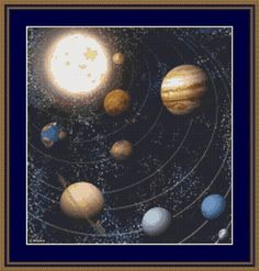 Stars and Planets Cross Stitch Pattern Instant by NeedleAndFloss