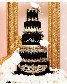Cake by Black Beauty for loveliest couple Anika and… Extravagant Wedding Cakes, Luxury Wedding Cake, Black Wedding Cakes, Luxe Wedding, Elegant Wedding Cakes, Beautiful Wedding Cakes, Gorgeous Cakes, Wedding Cake Designs, 16 Birthday Cake
