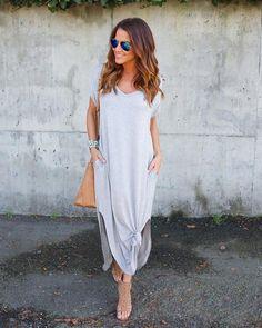 Weekender Pocketed Maxi Dress - Heather Grey