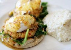 Crabcake Eggs Benedict, Enjoy every Sunday Gospel Brunch at Halls Chophouse