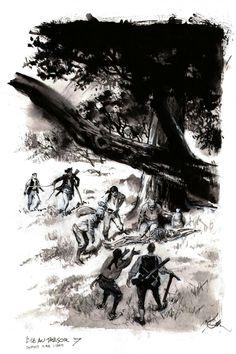 Planche originale de bande dessinée, galerie Napoléon  : L'ILE AU TRESOR - Illustration originale 7 de L'ile au trésor par René FOLLET - Storyboard, Illustrations, Comics, Drawings, Artist, Masters, Google, Inspiration, Vintage