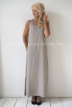 LEYA Maxidress, Natural (229,-) - BYPIAS Linen Dresses - BYPIAS