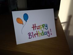 Birthday card. Rainbow card. Balloons. Colorful card. Simple card. Hand made.