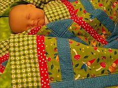 Wee Folks Gnome Crib Quilt - Baby nursery - Toddler - green - blue - red - Unisex - Baby Shower Gift - cotton - flannel - blanket - woodland