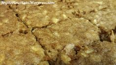 Thoughts Before Baking: I got this recipe from the Hannah Swensen mystery, Fudge Cupcake Murder. It sounded really tasty so I thought I would try it out. Ingredients: Cup of Melted Butter St… Apple Recipes, Baking Recipes, Cookie Recipes, Fluke Recipe, Hannah Swensen, Delicious Food, Tasty, Apple Bars, Apple Orchard
