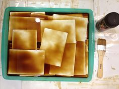 I rip every pages by hands and put them through coffee-dyed process. I use hair dryer to dry them page by page to make them more neat and beautiful. And I use 200 grams papers for all the pages. They're prepared to make beautiful vintaged-style books.  - www.etsy.com/shop/ClassicNotebook