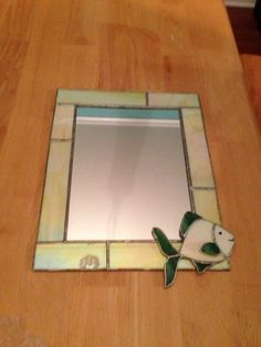 Stained glass fish mirror