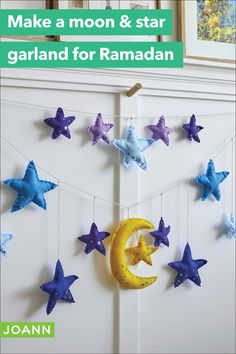 This felt moon & star garland is a great project for little hands to help with and learn some basic sewing skills. Plus, it's a way for them to celebrate Ramadan in their own special way.