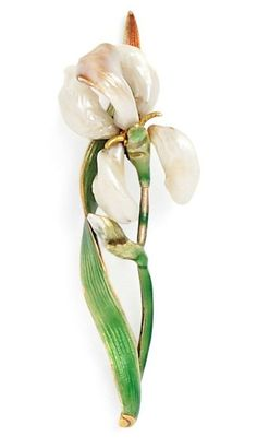 Tiffany Iris Brooch = An Art Nouveau 18kt Gold and Baroque Freshwater Pearl Iris Brooch, Marcus & Co., with pearl petals and enamel stem, signed Tiffany Z