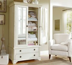Turn an armoire into a linen closet ~ Sofia Armoire, Weathered Gray finish