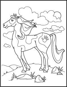 Wild Horse Coloring Pages Horse coloring page Lead a horse to