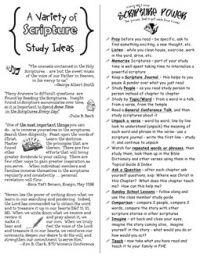 A Variety of Scripture Study Ideas