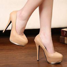 Metal Decoration Platform Apricot High Heels