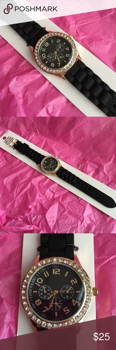 Brand New Black Silcone Watch Pretty black silicone watch with gold tone detail and rhinestones - brand new - never worn. Accessories Watches