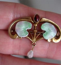 Lot Superb Antique Art Nouveau Jugendstil Gold Filled Enamel Ruby Brooch Extra | eBay