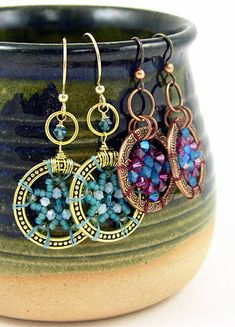 """Bead Weave Earrings featuring TierraCast 1"""" Beaded and 1"""" Spiral rings. Design by Tracy Gonzales for TierraCast."""