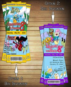 Adventure Time Ticket Birthday Party Invitations