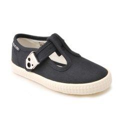 Wells, Navy Blue Girls T-Bar Canvas Shoes