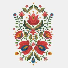 Folk Embroidery Design Such pretty symmetry. Hungarian Embroidery, Folk Embroidery, Embroidery Patterns, Embroidery Jewelry, Folk Art Flowers, Flower Art, Buch Design, Design Art, Media Design