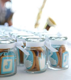 Cute boy communion favors - blue mini cookies in a jar.